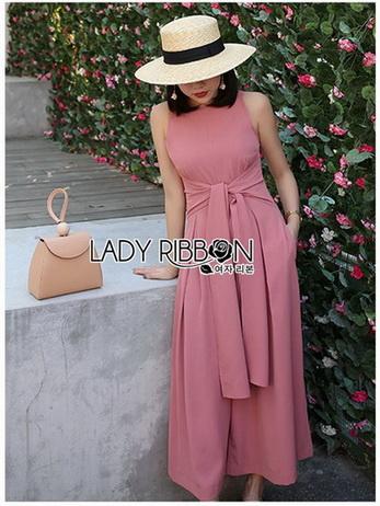 Lady Piper Ribbon Twisted Plain Jumpsuit