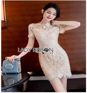Lady Ribbon Chic gold Lace Mini Dress