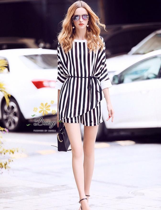 เสื้อกางเกงผ้าลายริ้วแต่งแฟชั่นเกาหลีสวย