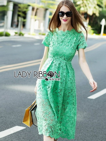 Minty Lady Ribbon Lace Maxi Dress
