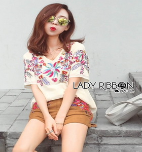 Lady Ribbon Victoria Casual Top and Shorts