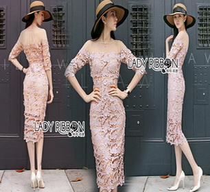 Lady Ribbon Grace Feminine Lace Dress