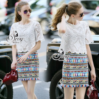 Sevy Two Pieces Of Lace Blouse With Northern Skirt Sets Type: Blouse+Skirt
