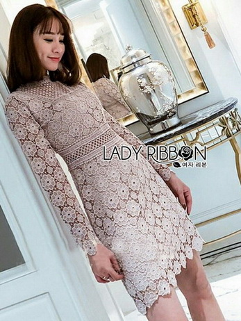 Lady Stella Flower Lace Dress in Beige