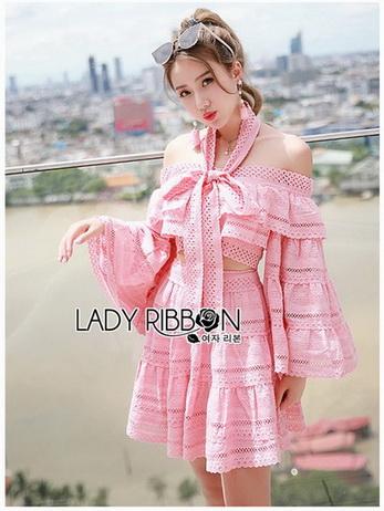 Lady Erika Bubblegum Crop Top and Skirt Set