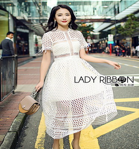Lady Ribbon Self-Portrait White Lace Midi Dress