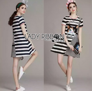 LR05290816 &#x1F380 Lady Ribbon's Made &#x1F380 Lady Kara Playful Mixed Striped Kitty Cat Embroidered Dress