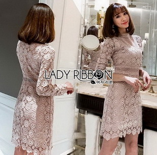 Lady Stella Flower Lace Dress in Beige