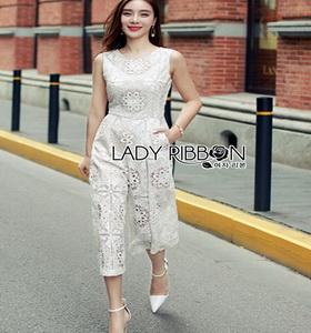 Lady Ribbon Lace Jumpsuit จัมป์สูทสีขาว