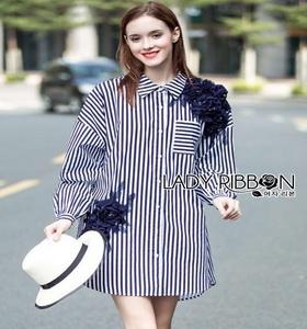 Lady ribbon Flower Embroidered Striped Shirt เชิ้ตแขนยาวลายทาง