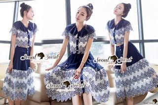 SS15010916 Seoul Secret Say's... Fashionista Navaly Blossom Set Material : เซ็ทเก๋ๆ สไตล์สาวแฟชั่นเก๋ๆ หวานๆ