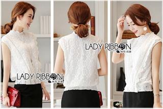 Lady Ribbon Online เสื้อผ้าออนไลน์ขายส่ง lady ribbon เสื้อผ้าLR11150816 &#x1F380 Lady Ribbon's Made &#x1F380 Lady Alice High-Neck Scallop White Lace Top เสื้อลูกไม้สีขาวทรงคอสูง