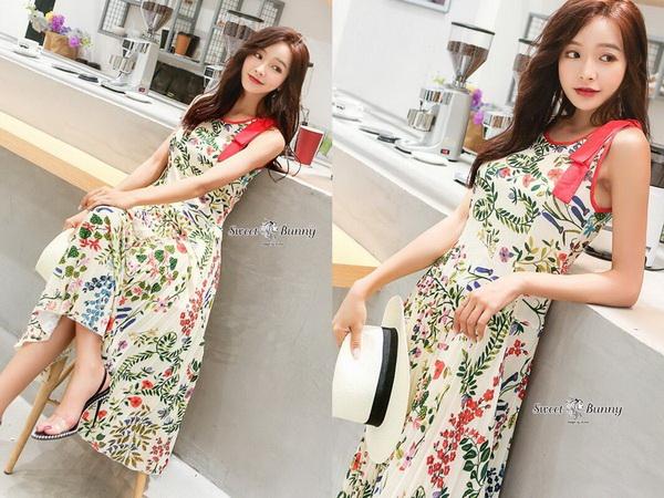 ชุดเดรสยาวเกาหลีผ้าพิมพ์ลายดอก