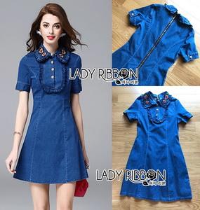 Lady Ribbon Sara Denim Mini Dress with Buttons