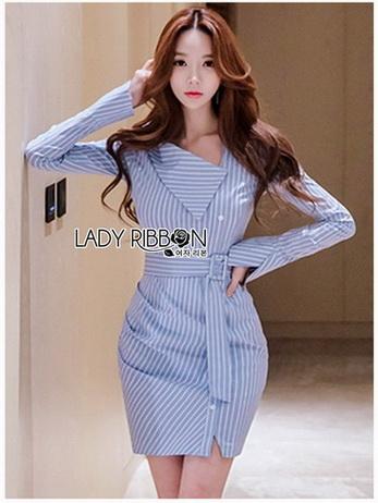 Chic Lady Ribbon Striped Shirt Dress