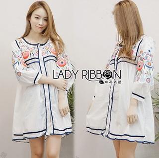 Lady Ribbon Online ขายส่งเสื้อผ้าออนไลน์เลดี้ริบบอน LR08010816 &#x1F380 Lady Ribbon's Made &#x1F380 Lady Alexandria Country Feminine Flower Embroidered Button-Down Cotton Dress
