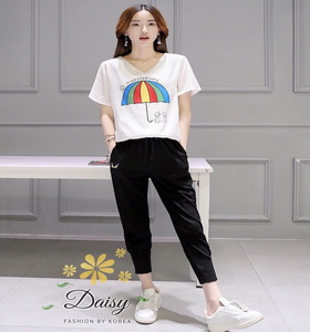 เสื้อผ้าแฟชั่นเกาหลีสวยๆชุดเซทเสื้อ+กางเกงติดป้าย