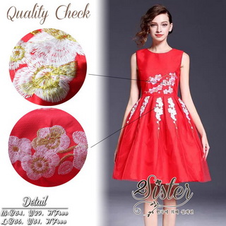 2Sister Made, Beauty Red Velvet Color Dress เดรสสั้น ลุคเรียบหรูสีแดงสด เนื้อผ้าpolyester+silkเกรดดี