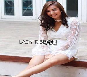 Lady Ribbon White Organza Playsuit