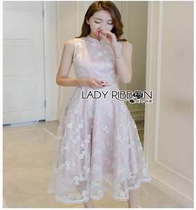 Lady Ribbon Organza Dress with Pink Lining