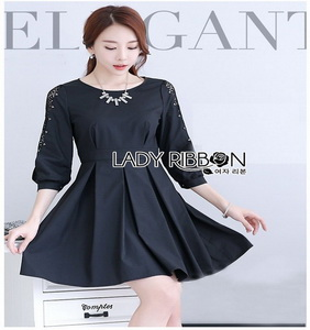 Black Cotton Pleated Dress Lady Ribbon เดรสดำ
