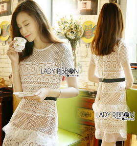 Lady Ribbon Self-Portrait Mixed White Lace Mini Dress