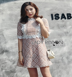 Lace with Lady Ribbon Nude Lining Mini Dress