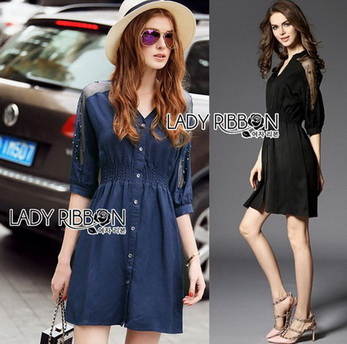 Lady Natalie Minimal Organza and Denim Cotton Shirt Dress