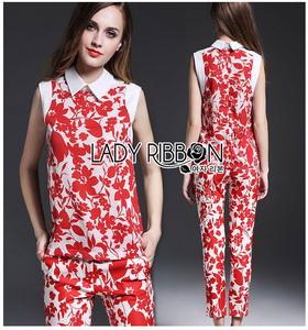 Lady Ribbon Red Floral Printed Collared Top and Pants Set เซ็ตเสื้อและกางเกงขายาว