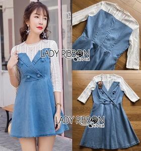 Lady Ribbonc Lace and Denim Mini Dress