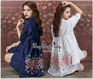 Lady Ribbon Online ขายส่งเสื้อผ้าออนไลน์ Very very pretty VP06030816 Smart Chic Embroidery Cotton shirt Dress