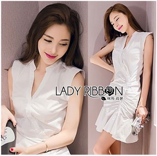 Lady Ribbon Online ขายส่งเสื้อผ้าออนไลน์ Lady Ribbon พร้อมส่ง LR15040816 &#x1F380 Lady Ribbon's Made &#x1F380 Lady Megan Brody Minimal Chic White Drape Peplum Dress