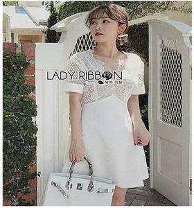 White Lace and Crepe Mini Dress Lady Ribbon มินิเดรส