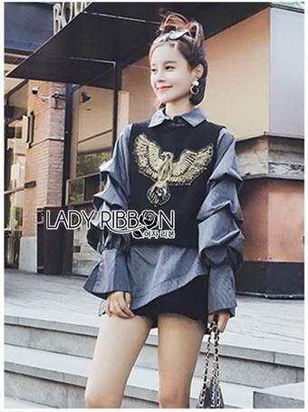 Layered-Sleeve Lady Ribbon Striped Shirt