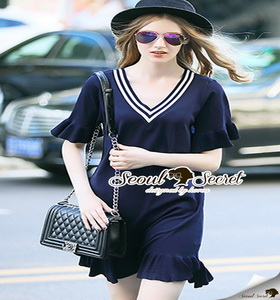 Seoul Secret Colar Navy Knit Dress
