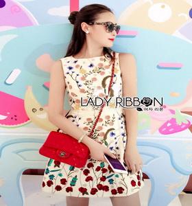 Lady Ribbon Mini Dress มินิเดรสสีครีมปักลายดอกไม้