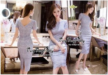 Lady Ribbon Online เสื้อผ้าแฟชั่นออนไลน์ขายส่ง เลดี้ริบบอนของแท้พร้อมส่ง Veryverypreppy เสื้อผ้า VP02240716 Luxury Classic Vintage Lace Long Dress