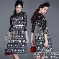 ST10310716 &#x1F340สินค้าพร้อมส่ง&#x1F340 한국에 의해 설계된 2Sister Made, Eastern Style Dress with Belt เดรสลุคเรียบหรู เนื้อผ้าผสมsilkหนาเกรดดี พิมพ์
