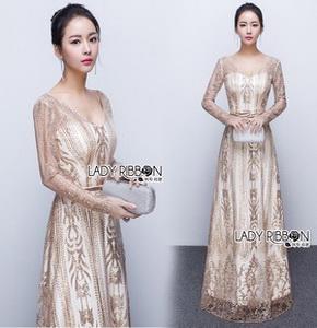 Lady Ribbon Golden Maxi Dress
