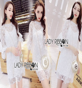 Lady Ribbon White Lace Dress