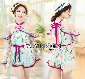 Lady Ribbon Embroidered Ruffle Tulle Playsuit