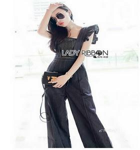 Lady Ribbon Denim Jumpsuit จัมป์สูทสีดำ