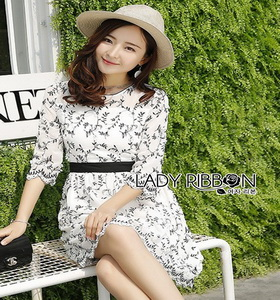 Lady Ribbon Black and White lower Embroidered Dress