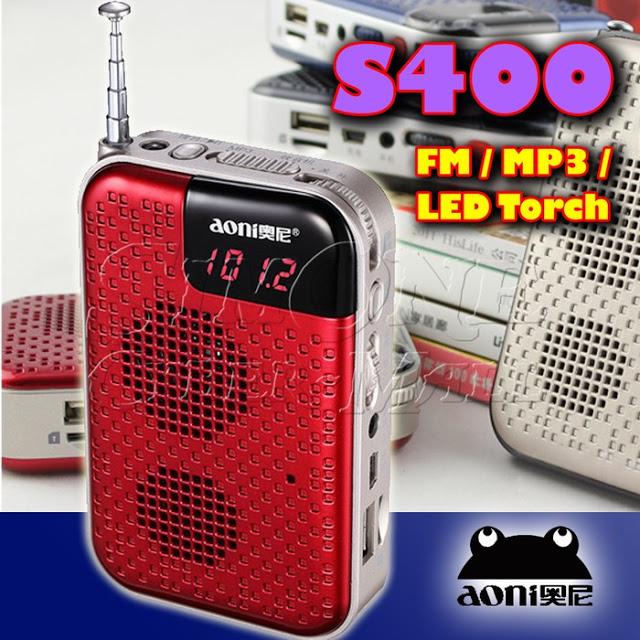 Aoni S400 Mini Portable FM Radio / MP3 Player