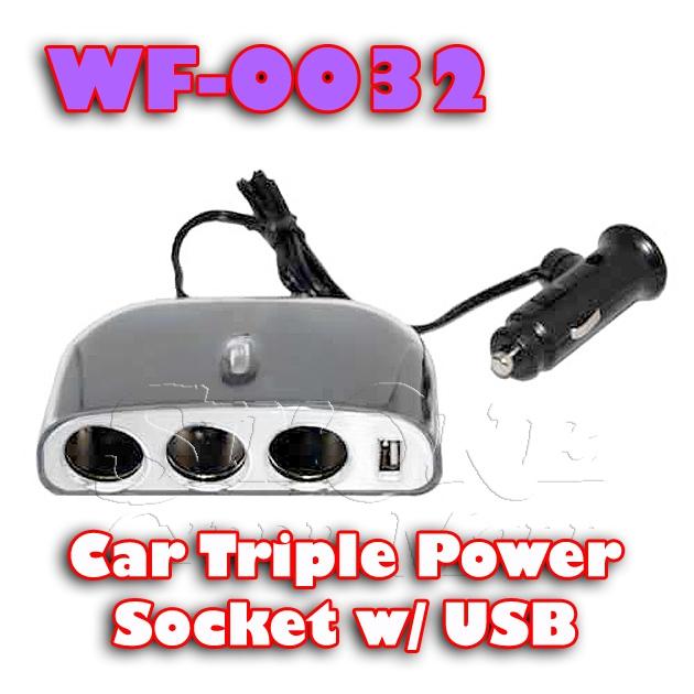 WF-0032 - Car Triple Power Socket with USB