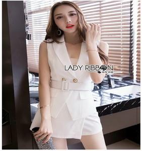 Sexy Mini Suit Set Lady Ribbon เสื้อสูทแขนกุด