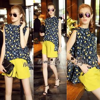 Lady Ribbon Online เสื้อผ้าออนไลน์ขายส่ง Normal Ally เสื้อผ้า,NA16220816 &#x1F389Normal Ally Present Tulip print shirt and pant with belt set&#x1F389 (เสื้อ + กางเกง + เข็มขัด)