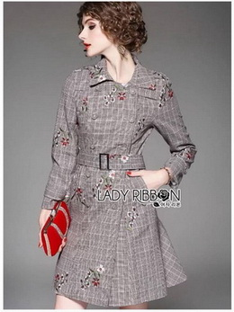 Lady Anna Flower Embroidered Houndstooth Coat Dress