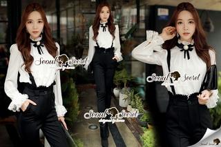 SS13010916 Seoul Secret Say's... Lovely Bibby Nifty Bowwy Set Material : เซ็ทสวยๆ เก๋ๆ สไตล์สาวมีคลาส