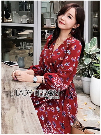 Lady Red Monica Floral Patterned Printed Wrap Dress